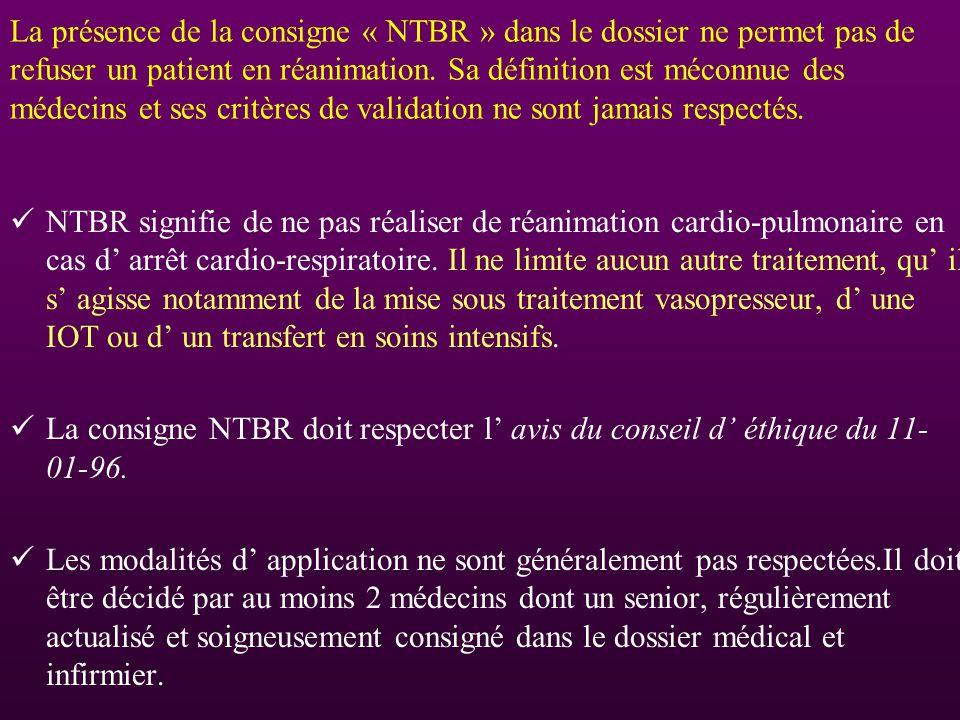 La présence de la consigne « NTBR » dans le dossier ne permet pas de refuser un patient en réanimation. Sa définition est méconnue des médecins et ses critères de validation ne sont jamais respectés.