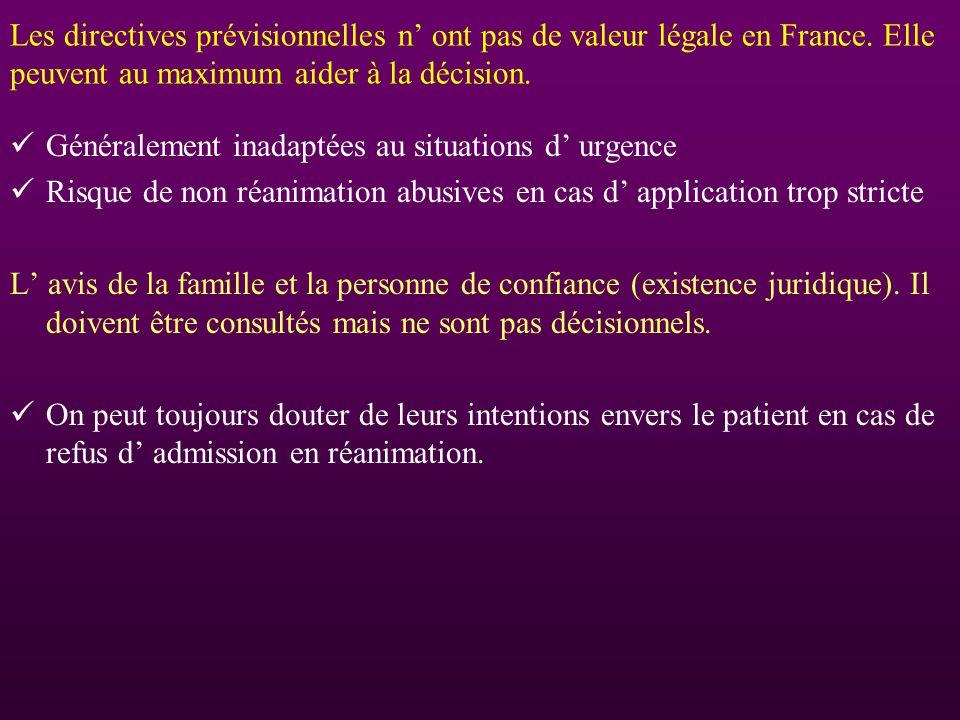 Les directives prévisionnelles n' ont pas de valeur légale en France