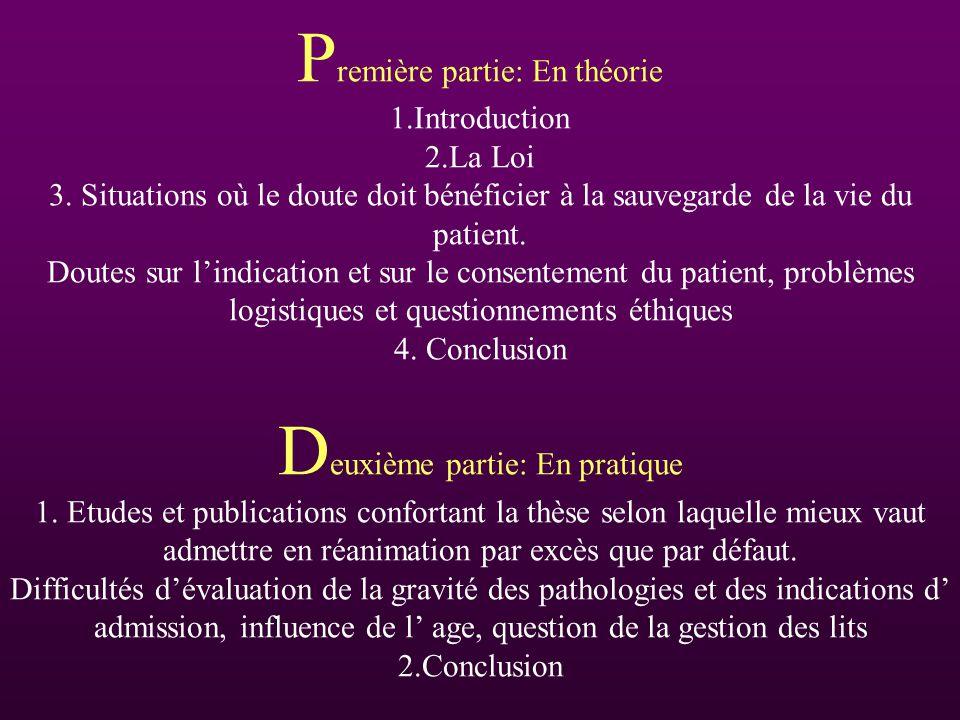 Première partie: En théorie 1. Introduction 2. La Loi 3