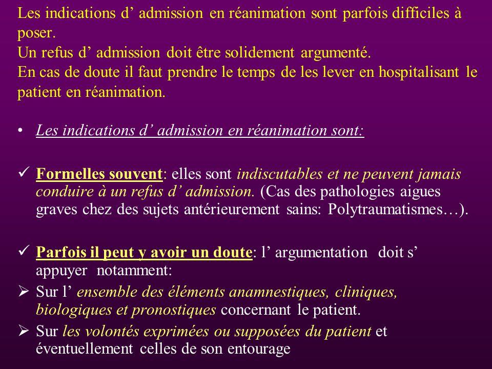 Les indications d' admission en réanimation sont parfois difficiles à poser. Un refus d' admission doit être solidement argumenté. En cas de doute il faut prendre le temps de les lever en hospitalisant le patient en réanimation.