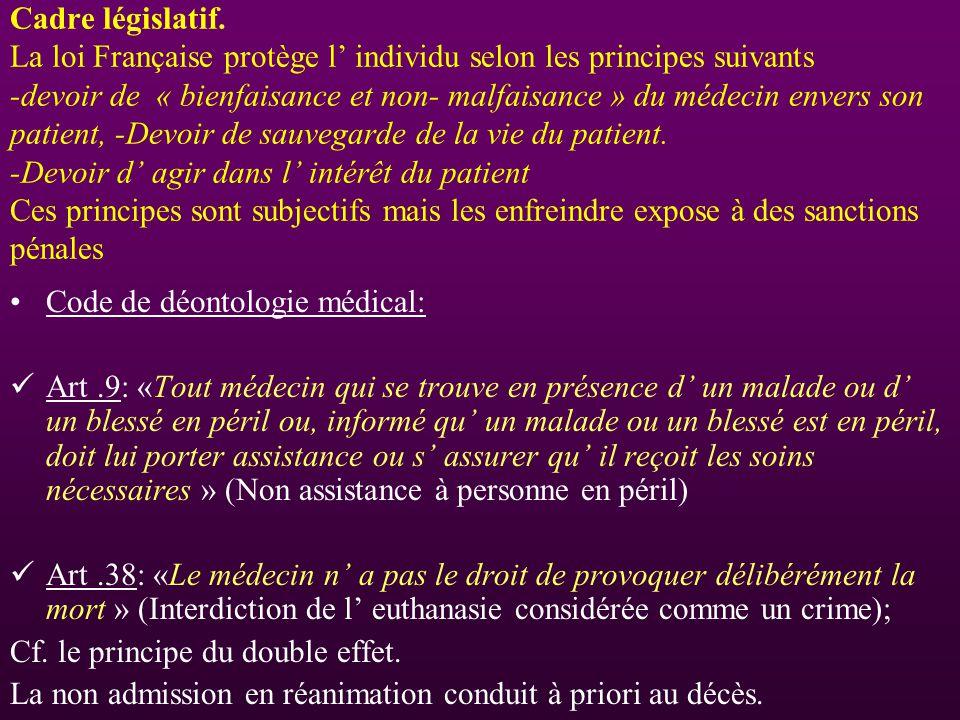 Cadre législatif. La loi Française protège l' individu selon les principes suivants -devoir de « bienfaisance et non- malfaisance » du médecin envers son patient, -Devoir de sauvegarde de la vie du patient. -Devoir d' agir dans l' intérêt du patient Ces principes sont subjectifs mais les enfreindre expose à des sanctions pénales