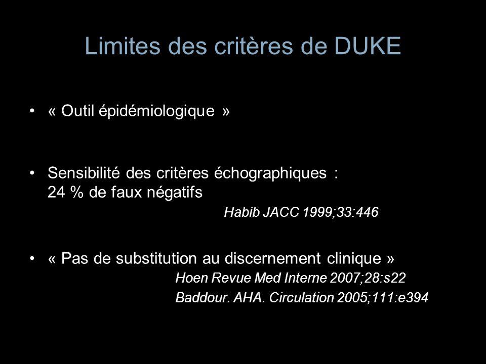 Limites des critères de DUKE