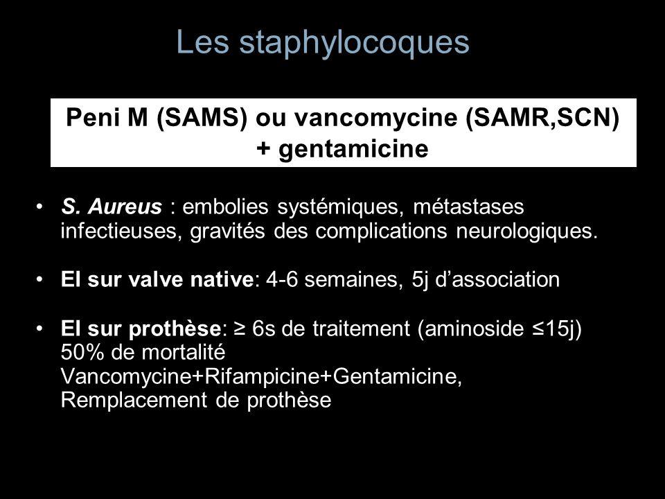 Peni M (SAMS) ou vancomycine (SAMR,SCN) + gentamicine