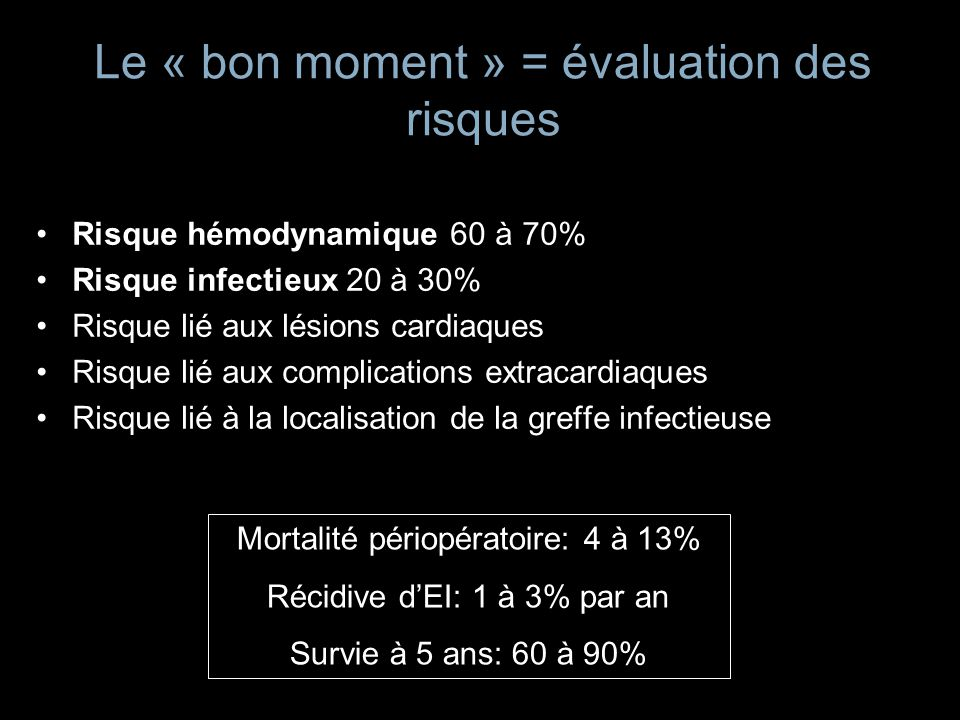 Le « bon moment » = évaluation des risques