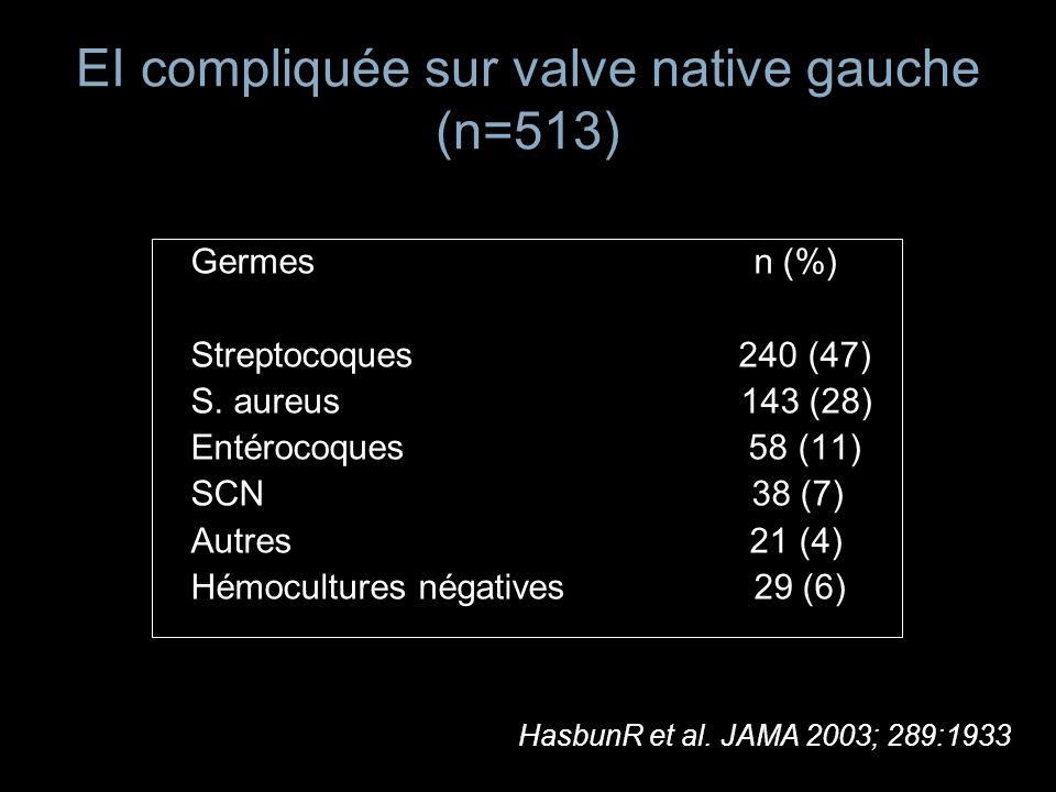 EI compliquée sur valve native gauche (n=513)