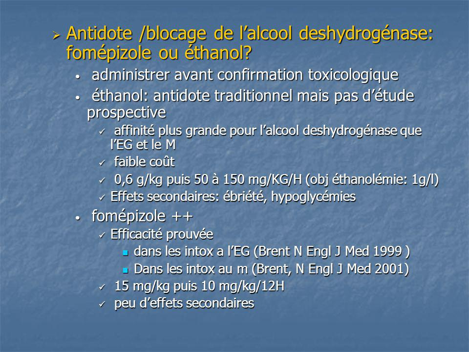 Antidote /blocage de l'alcool deshydrogénase: fomépizole ou éthanol