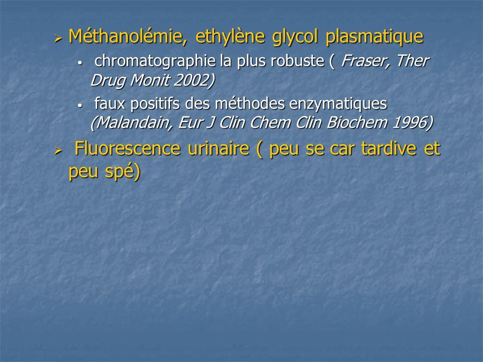 Méthanolémie, ethylène glycol plasmatique