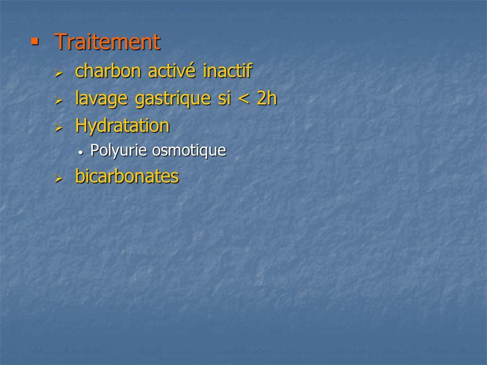 Traitement charbon activé inactif lavage gastrique si < 2h