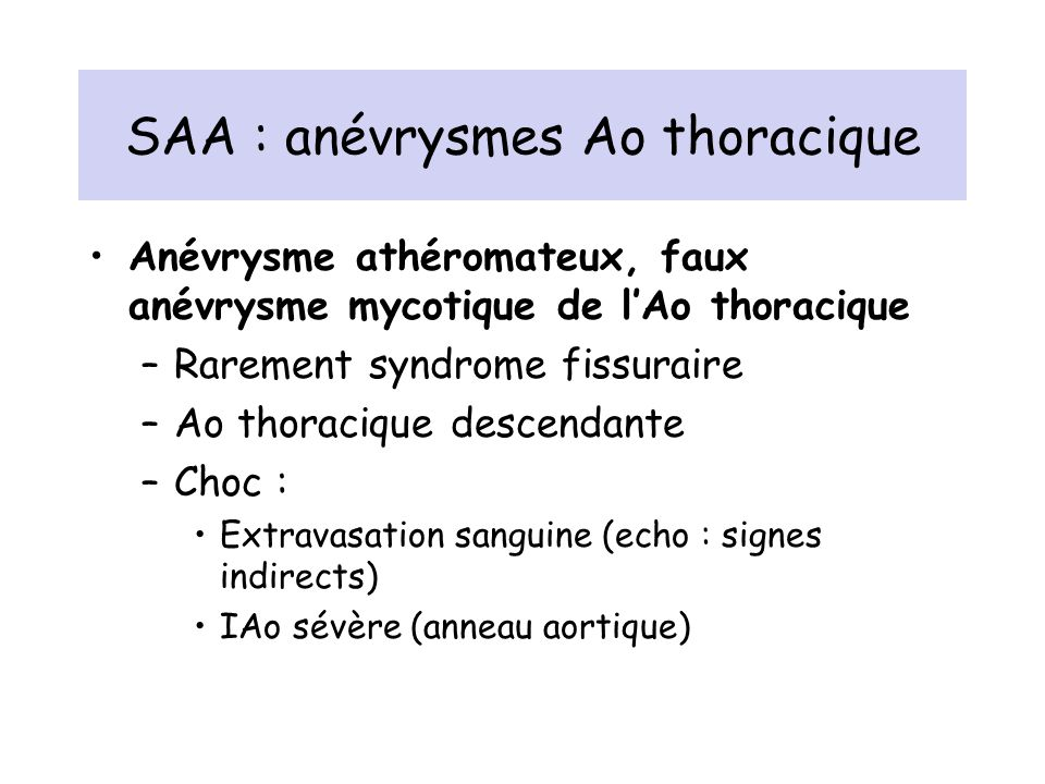 SAA : anévrysmes Ao thoracique