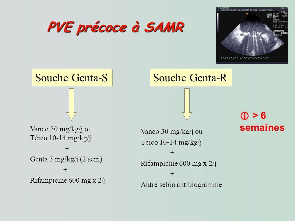 PVE précoce à SAMR Souche Genta-S Souche Genta-R  > 6 semaines