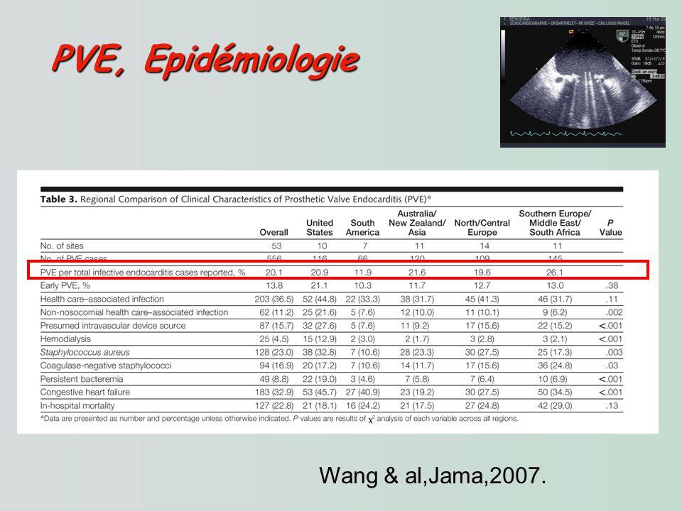 PVE, Epidémiologie Wang & al,Jama,2007.