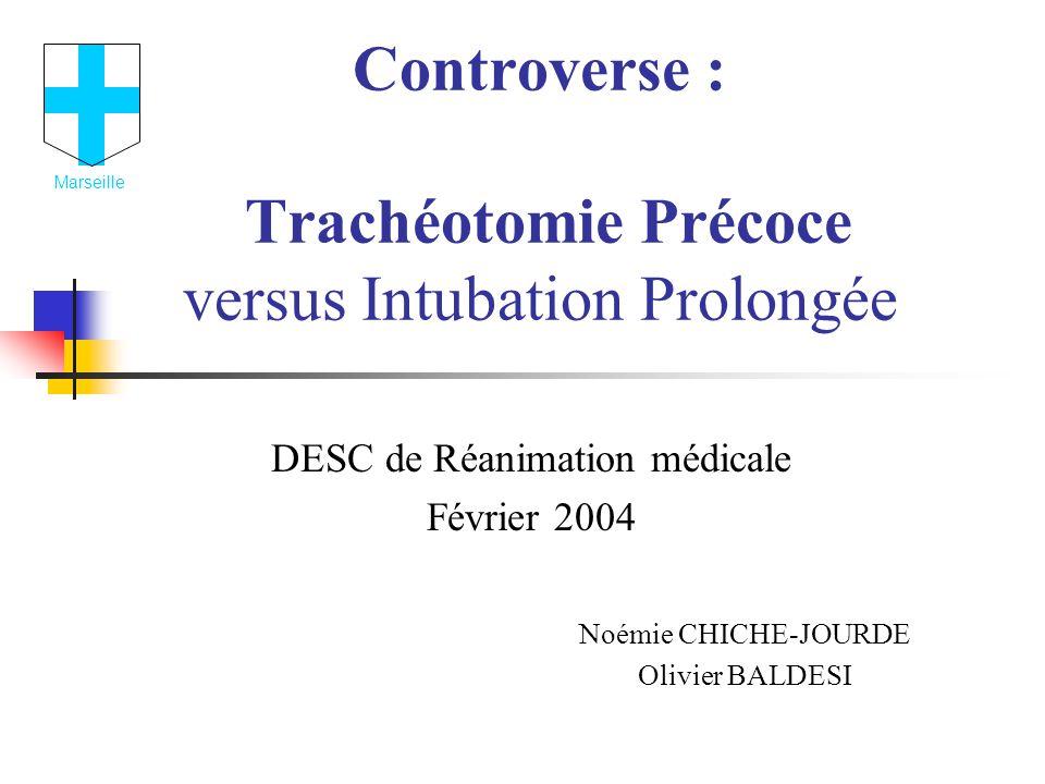 Controverse : Trachéotomie Précoce versus Intubation Prolongée