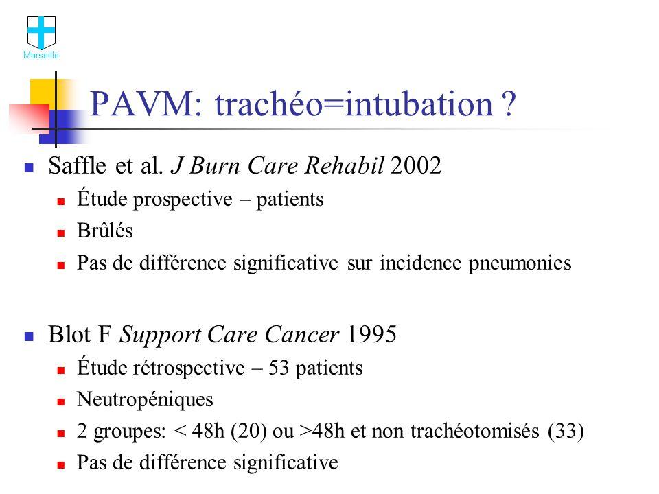 PAVM: trachéo=intubation