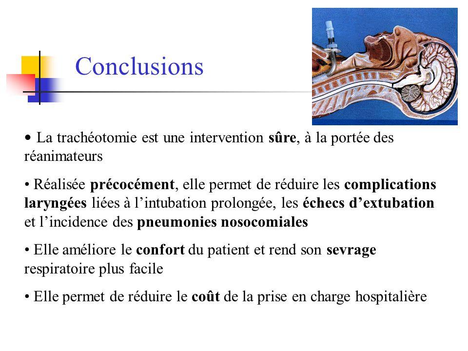 Conclusions La trachéotomie est une intervention sûre, à la portée des réanimateurs.