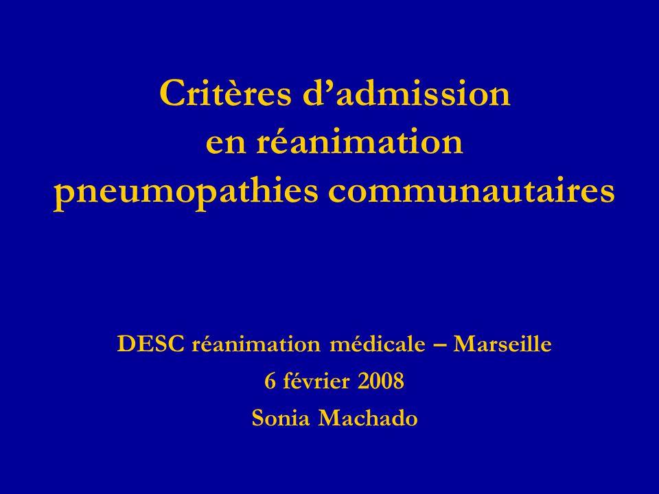 Critères d'admission en réanimation pneumopathies communautaires