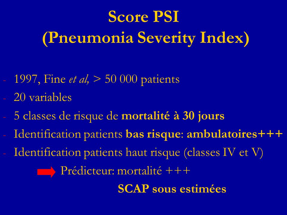 Score PSI (Pneumonia Severity Index)