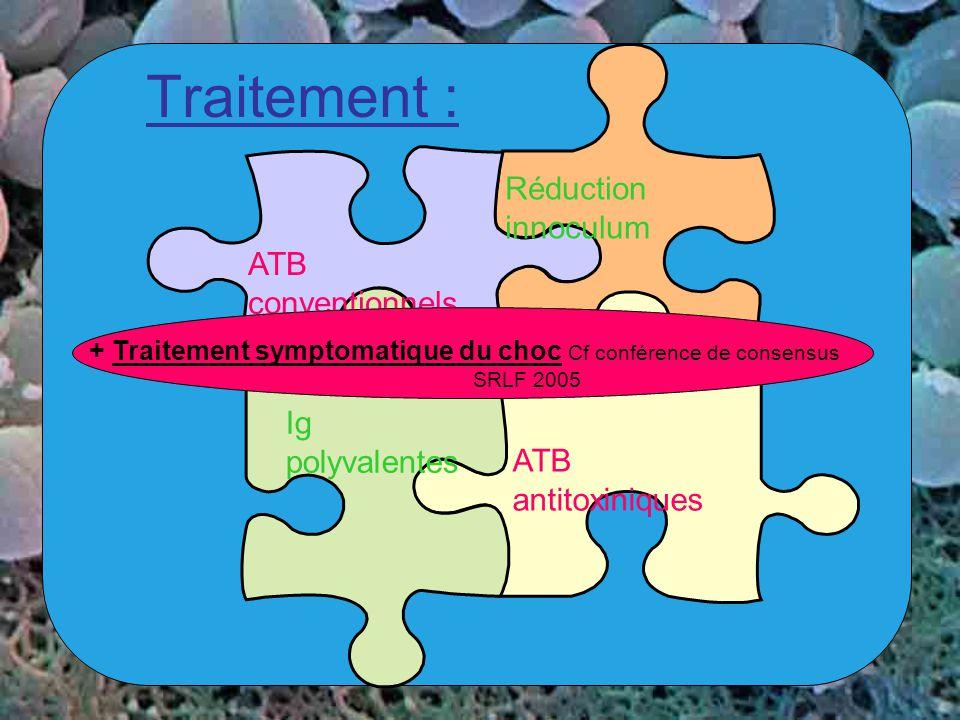 Traitement : Réduction innoculum ATB conventionnels Ig polyvalentes