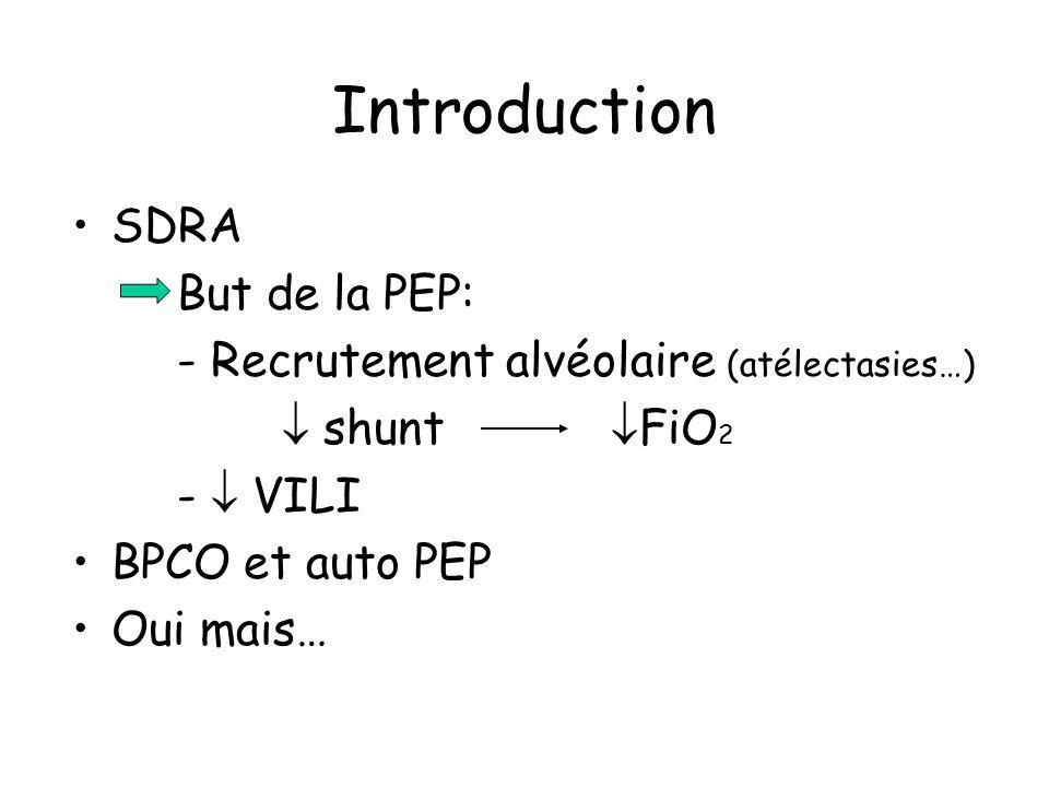 Introduction SDRA But de la PEP: