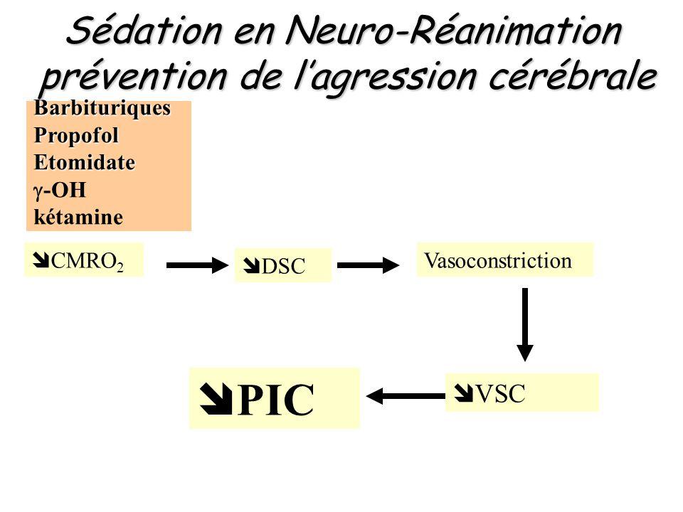 Sédation en Neuro-Réanimation prévention de l'agression cérébrale