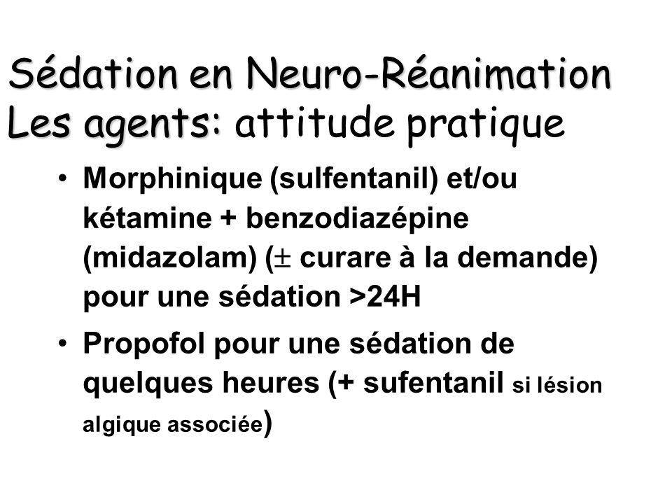 Sédation en Neuro-Réanimation Les agents: attitude pratique