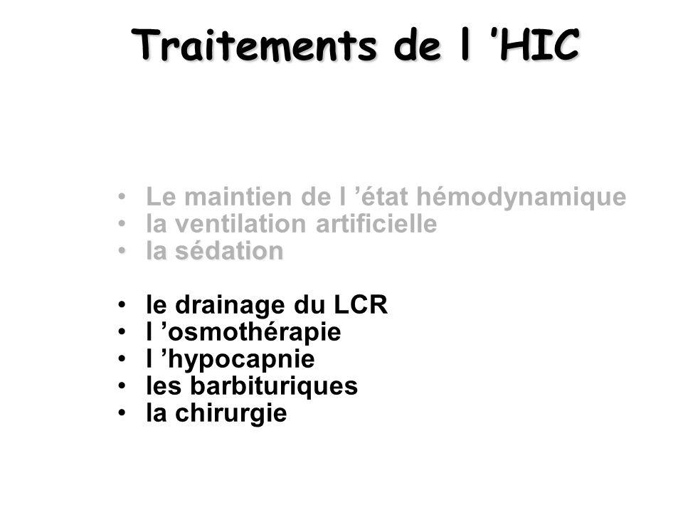 Traitements de l 'HIC Le maintien de l 'état hémodynamique