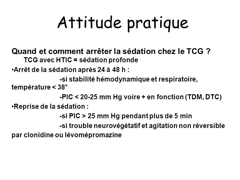 Attitude pratique Quand et comment arrêter la sédation chez le TCG