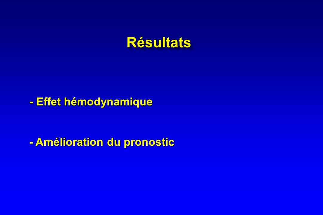 Résultats - Effet hémodynamique - Amélioration du pronostic