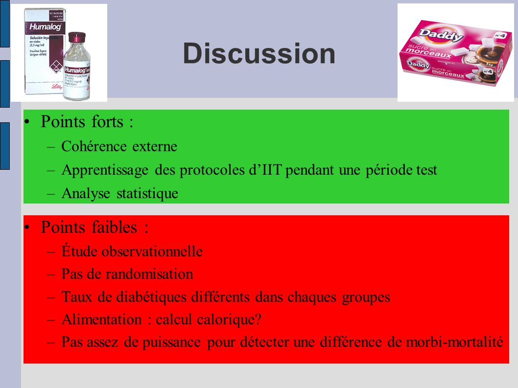 Discussion Points forts : Points faibles : Cohérence externe
