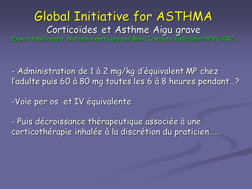 Global Initiative for ASTHMA Corticoïdes et Asthme Aigu grave Expert Panel report, National Heart Lung and Blood Institute, Publication N°91-3042.