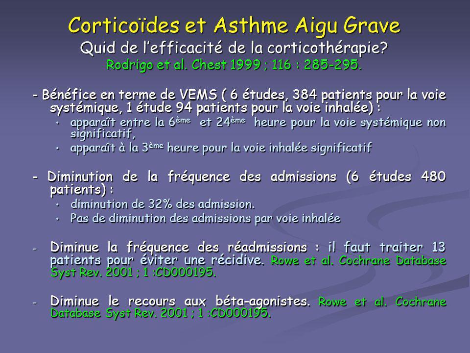 Corticoïdes et Asthme Aigu Grave Quid de l'efficacité de la corticothérapie Rodrigo et al. Chest 1999 ; 116 : 285-295.