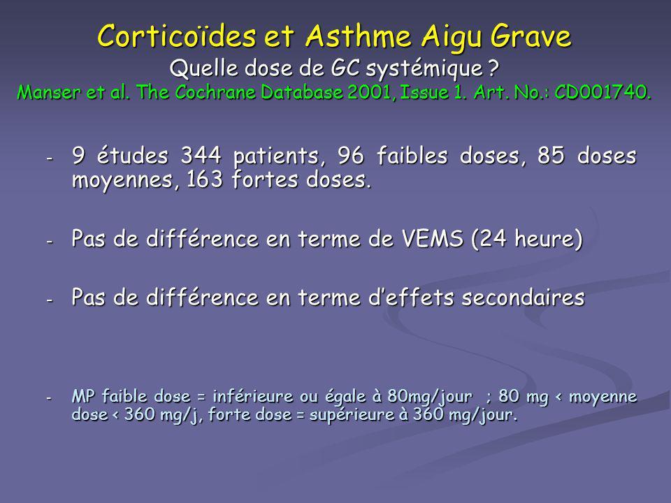 Corticoïdes et Asthme Aigu Grave Quelle dose de GC systémique