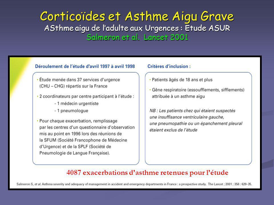 Corticoïdes et Asthme Aigu Grave ASthme aigu de l'adulte aux Urgences : Etude ASUR Salmeron et al. Lancet 2001