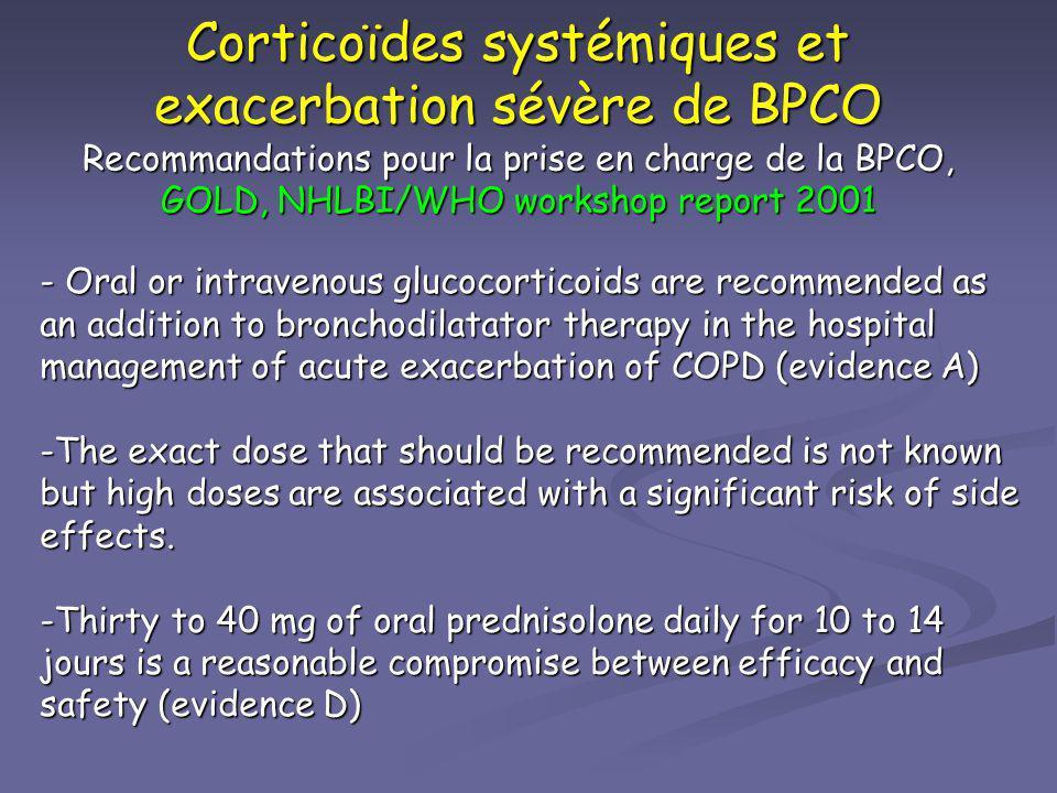Corticoïdes systémiques et exacerbation sévère de BPCO Recommandations pour la prise en charge de la BPCO, GOLD, NHLBI/WHO workshop report 2001