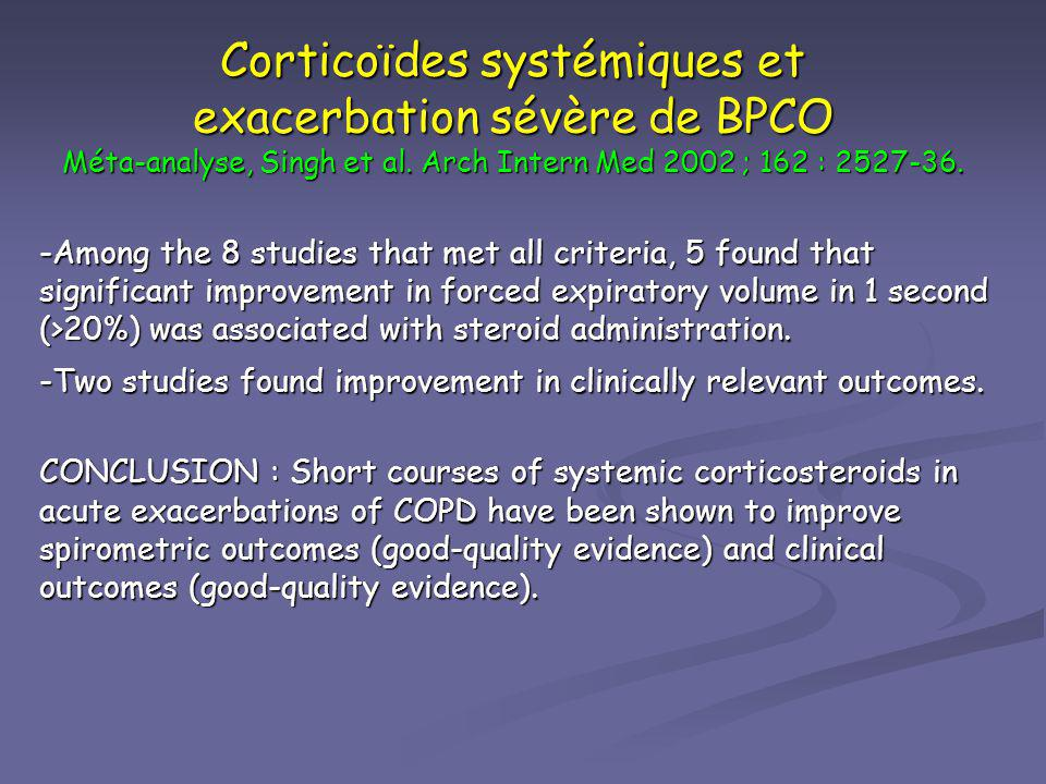 Corticoïdes systémiques et exacerbation sévère de BPCO Méta-analyse, Singh et al. Arch Intern Med 2002 ; 162 : 2527-36.