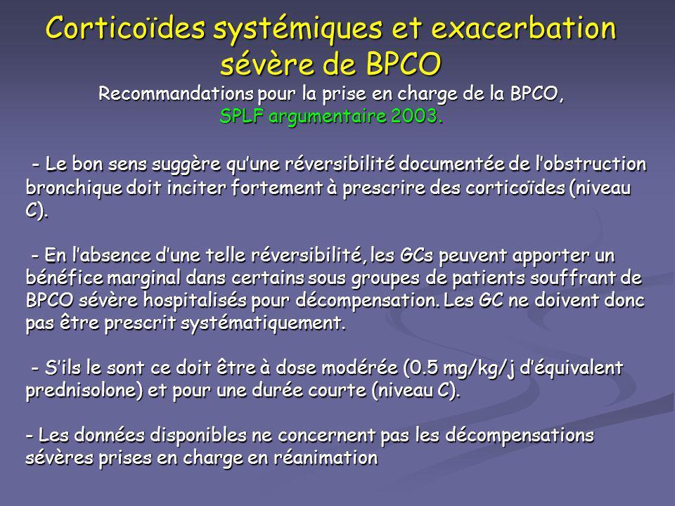 Corticoïdes systémiques et exacerbation sévère de BPCO Recommandations pour la prise en charge de la BPCO, SPLF argumentaire 2003.