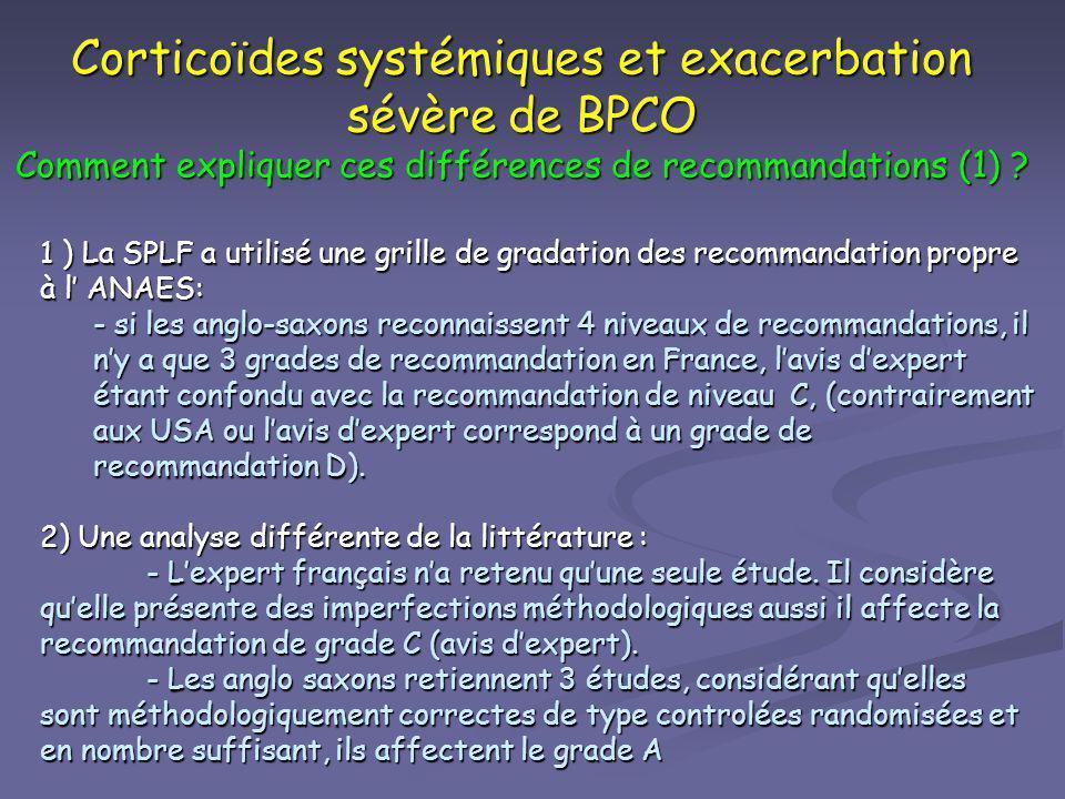 Corticoïdes systémiques et exacerbation sévère de BPCO Comment expliquer ces différences de recommandations (1)
