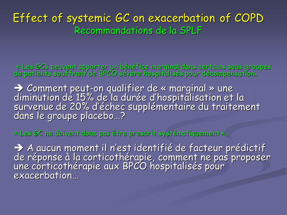 Effect of systemic GC on exacerbation of COPD Recommandations de la SPLF