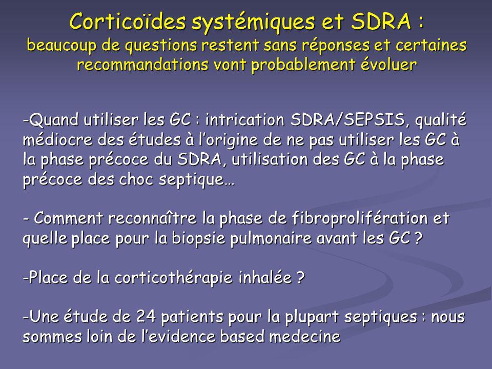 Corticoïdes systémiques et SDRA : beaucoup de questions restent sans réponses et certaines recommandations vont probablement évoluer