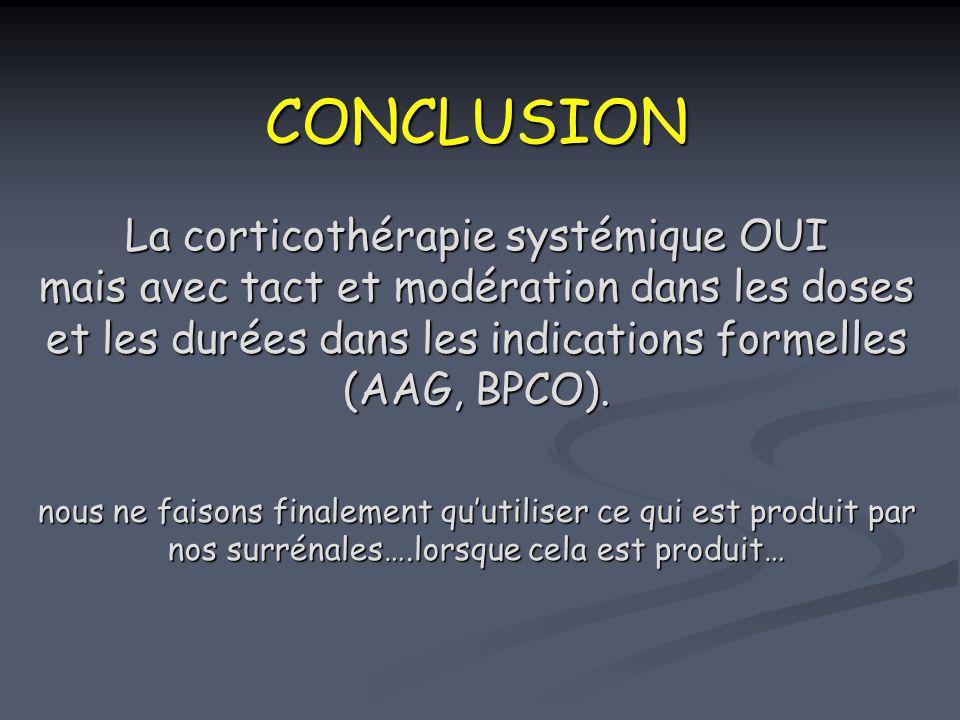 CONCLUSION La corticothérapie systémique OUI mais avec tact et modération dans les doses et les durées dans les indications formelles (AAG, BPCO). nous ne faisons finalement qu'utiliser ce qui est produit par nos surrénales….lorsque cela est produit…
