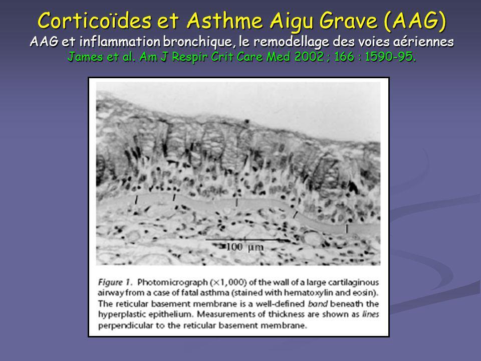 Corticoïdes et Asthme Aigu Grave (AAG) AAG et inflammation bronchique, le remodellage des voies aériennes James et al.