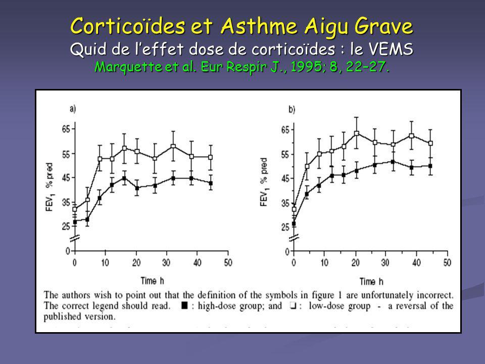 Corticoïdes et Asthme Aigu Grave Quid de l'effet dose de corticoïdes : le VEMS Marquette et al. Eur Respir J., 1995; 8, 22–27.