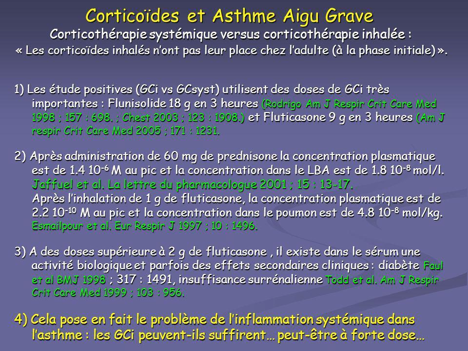 Corticoïdes et Asthme Aigu Grave Corticothérapie systémique versus corticothérapie inhalée : « Les corticoïdes inhalés n'ont pas leur place chez l'adulte (à la phase initiale) ».