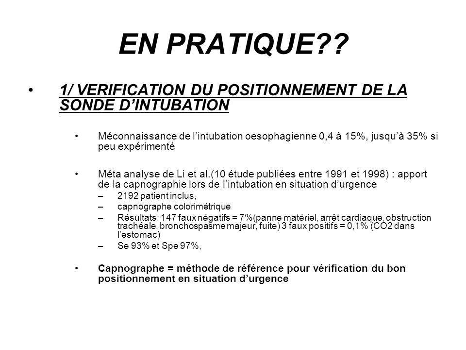 EN PRATIQUE 1/ VERIFICATION DU POSITIONNEMENT DE LA SONDE D'INTUBATION.