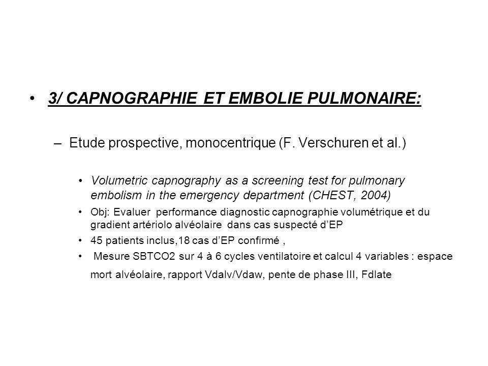 3/ CAPNOGRAPHIE ET EMBOLIE PULMONAIRE: