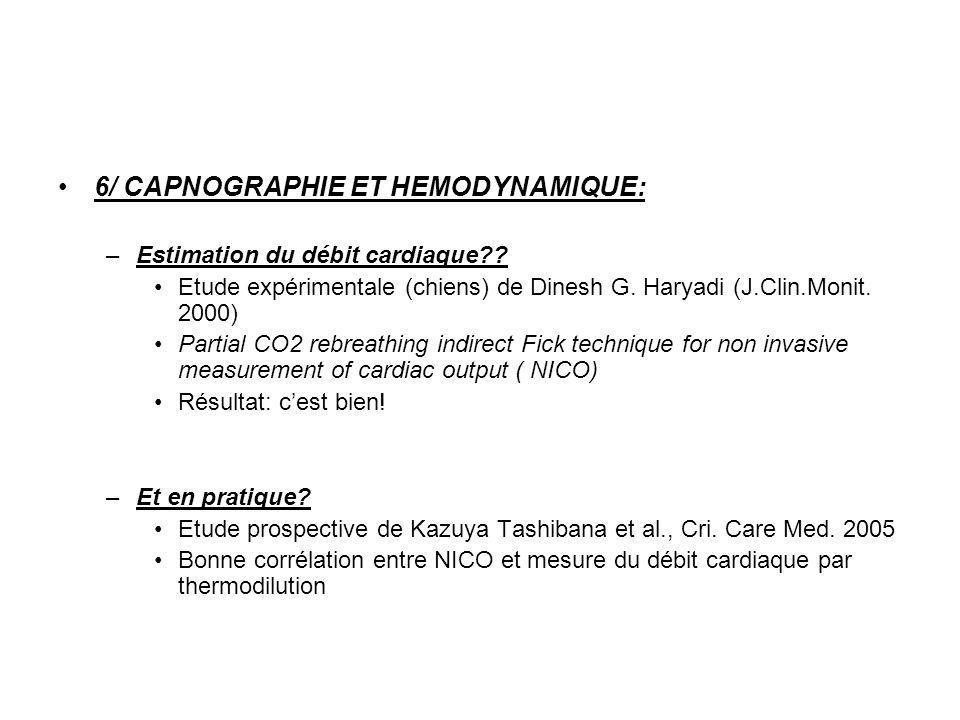 6/ CAPNOGRAPHIE ET HEMODYNAMIQUE: