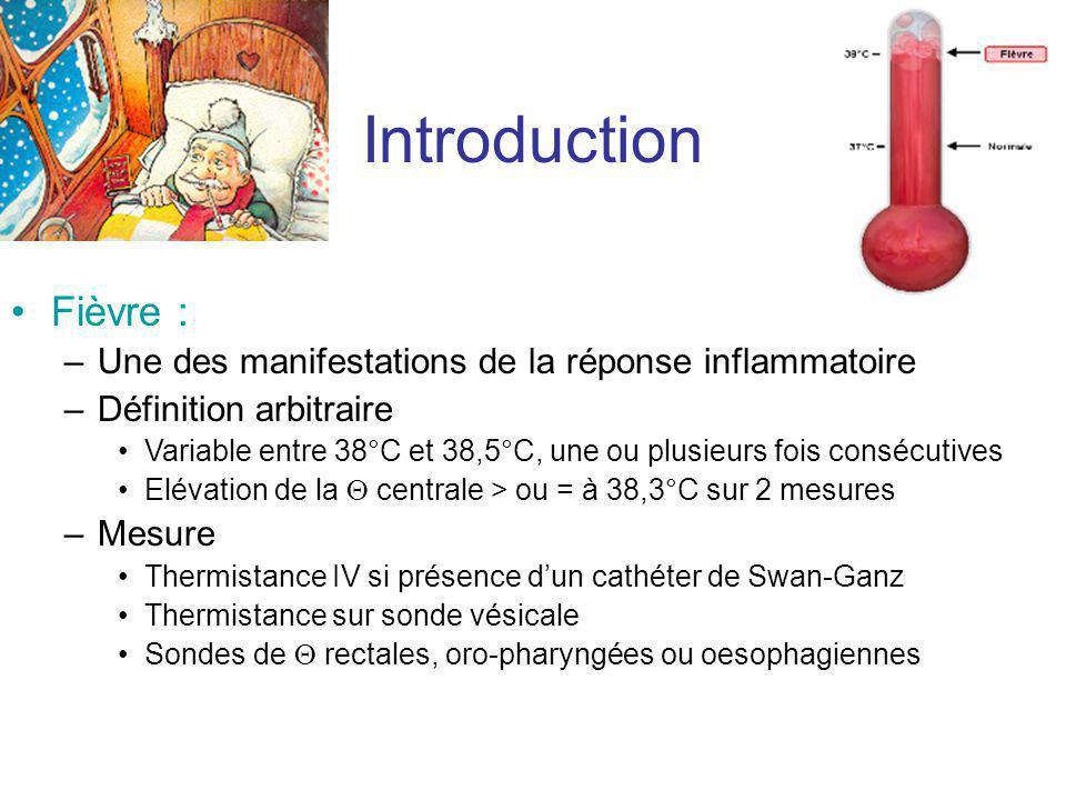 Introduction Fièvre : Une des manifestations de la réponse inflammatoire. Définition arbitraire.