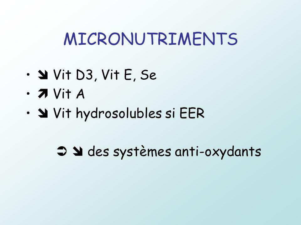MICRONUTRIMENTS  Vit D3, Vit E, Se  Vit A  Vit hydrosolubles si EER