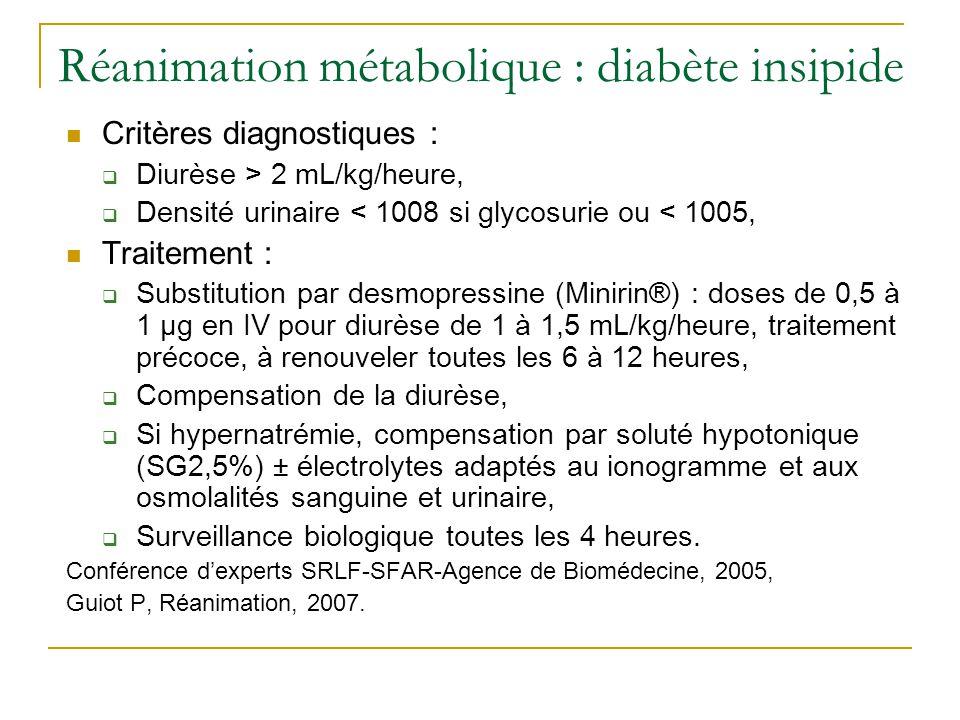 Réanimation métabolique : diabète insipide