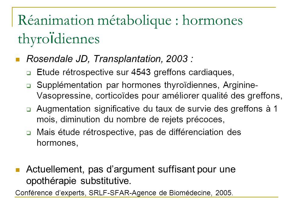 Réanimation métabolique : hormones thyroïdiennes