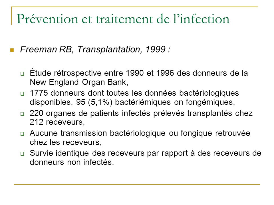 Prévention et traitement de l'infection